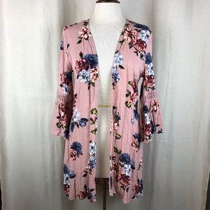 Gypsies & Moondust Mauve Floral Kimono S
